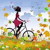 Girl on bike outdoors in autumn
