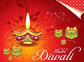 abstract deewali background with girt box