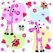 owl giraffe love print background