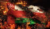 Oman Burning Fire Flag War Conflict Night 3D