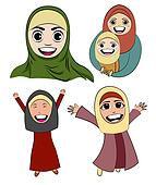 Cartoon Islam Girl Vector