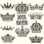 Collection of vector crowns for design