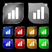 Growth and development concept. graph of Rate icon sign. Set of ten colorful buttons with glare.