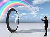 Man in black points toward rainbow in surreal landscape