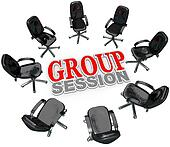 Group Session Meeting Chairs in Circle for Discussion