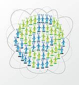 Global social media network concept