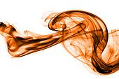 Orange smoke in white background