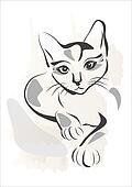 grunge outline illustration of black cat