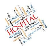 Hospital Word Cloud Concept Angled