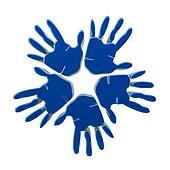 Hands success blue 3D logo