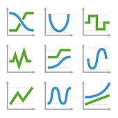 Digital and Analog Colorful Charts Diagrams. Blue Green  Set