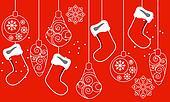 Red seamless Christmas pattern with hanging santa socks