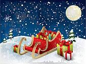 Santa?s sleigh tree and snow