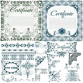 Certificate vector set in vintage style