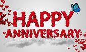 Happy Anniversary Red Heart Shape 3