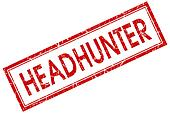 headhunter red square stamp isolated on white background
