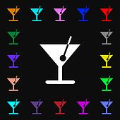 cocktail iconi sign. Lots of colorful symbols for your design.