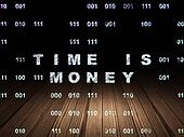 Timeline concept: Time is Money in grunge dark room