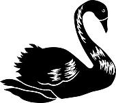 Abstract black swan isolated on white background