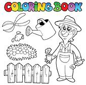 Coloring book with garden topic