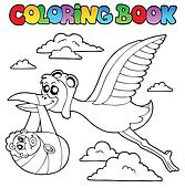 Coloring book with stork and baby