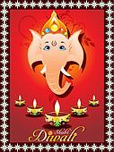 abstract diwali greeting card