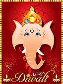 abstract diewali greeting card with ganesh ji