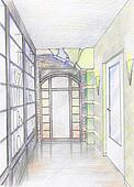 Hand drawn sketch of hallway