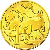 vector Australian Money, gold Dollar with the image of a kangaro