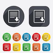 Download file icon. File document symbol.