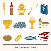 Set icons communion catholic christ