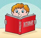 Kid Reading Red Dictionary