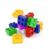 Set of multicolored plastic lego blocks isolated on a white background. 3d illustration.