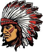 Indian Chief Mascot Head Vector Gra