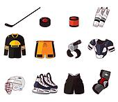 Vector ice hockey icon set