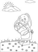 Rabbit mother with baby, contours