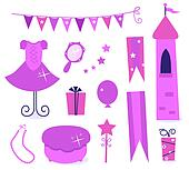Cute icons for little princess Party isolated on white ( pink )