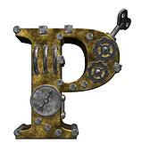 steampunk letter p