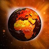 Planet Earth showing Europe and Africa with Global Warming