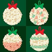 Assorted Popcorn Christmas Globes