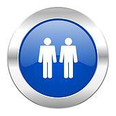 couple blue circle chrome web icon isolated