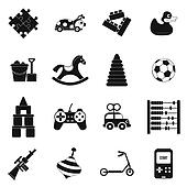 Toys black simple icons set