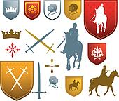 colour medieval, mediaeval icons and emblems