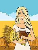 Beautiful girl with sheaf of wheat.