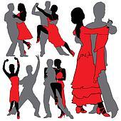 Latino Dancers Silhouettes Set