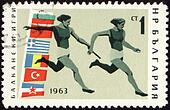 Relay race on post stamp