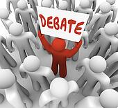 Debate Word Man Person Holding Sign Argument Dispute