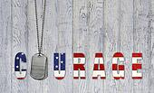 military dog tags with flag courage