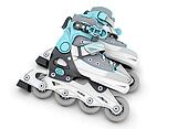 Pair of roller skates on a white