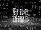 Timeline concept: Free Time in grunge dark room